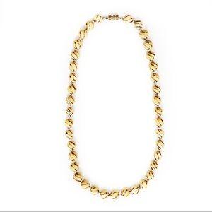 🌴 Ceramic Tan & Gold Painted Bead Necklace EUC